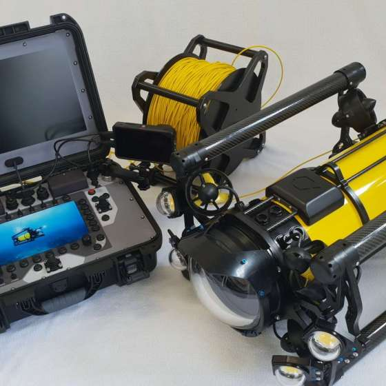 Boxfish Luna underwater cinematography drone kit including fiber optic tether and surfaced control console
