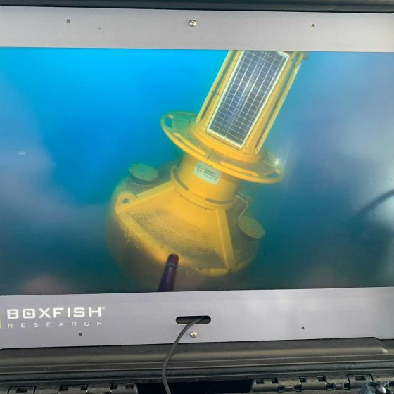 Scientific buoy 4K high resolution image from surfaced console during recovery mission