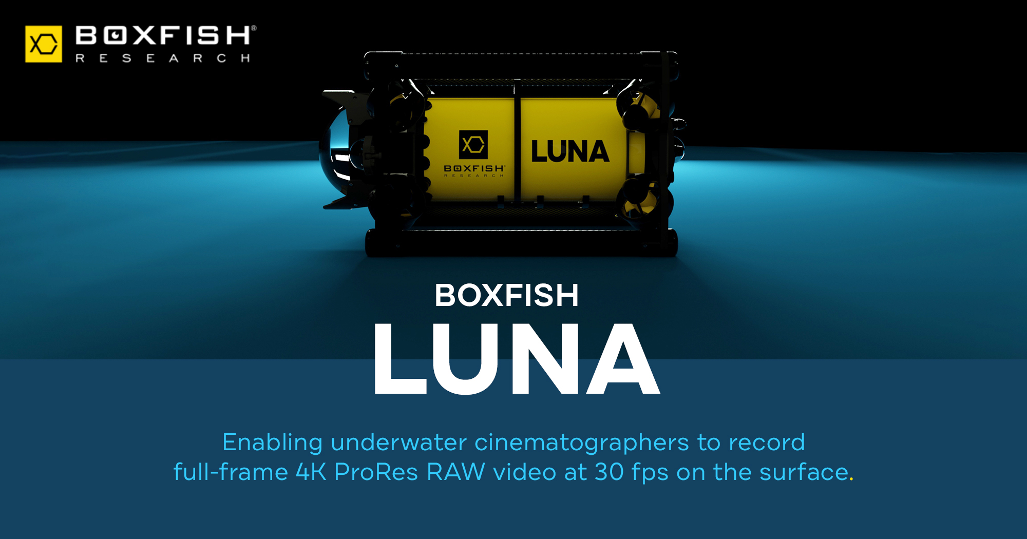Graphic announcing that Boxfish Luna now gives underwater cinematographers the creative flexibility of ProRes RAW