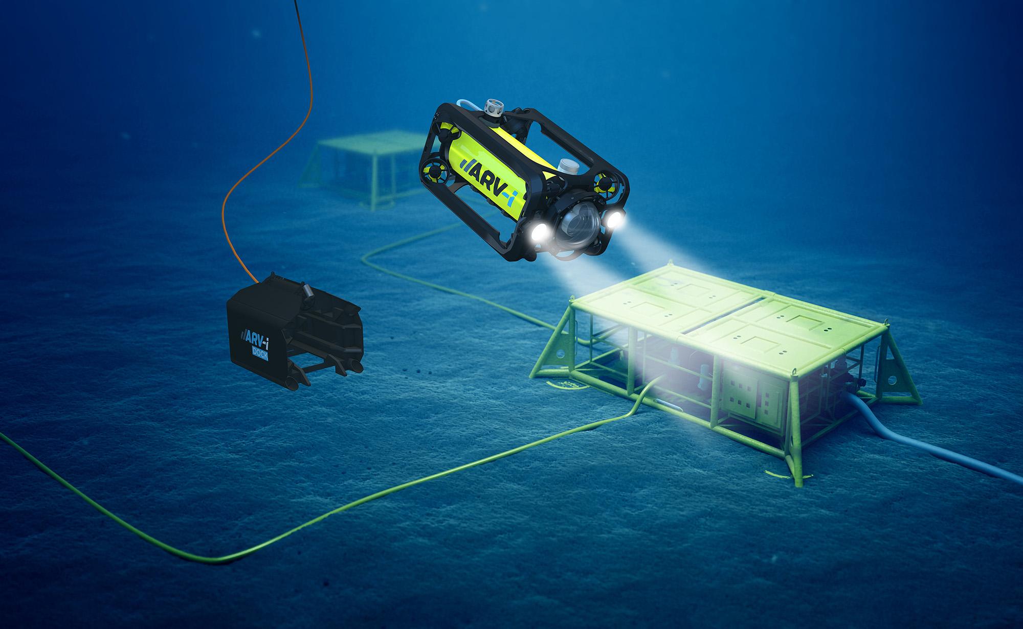 Render of the ARV-i in operation underwater